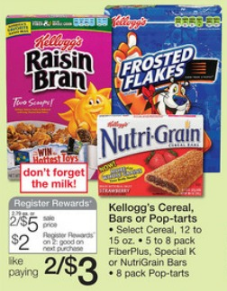Walgreens kelloggs Register Rewards