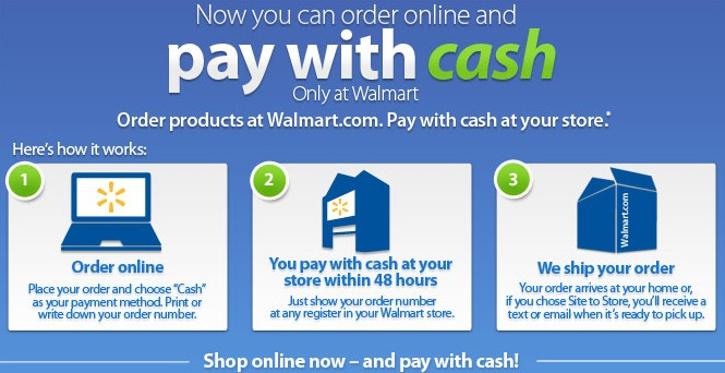 shop walmart.com and pay with cash
