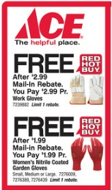ace gloves 2 Ace Hardware: FREE Work Gloves and FREE Womans Garden Gloves after Rebate