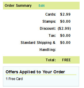 order summary Cardstore.com: FREE Customized Greeting Card + FREE Shipping!