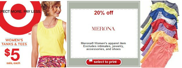target Target: New 20% Merona Coupon = $4.00 Tanks & Tees!