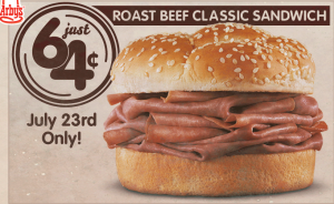 arbys Arbys Roast Beef Classic Sandwich Just 64¢ (Today Only)!