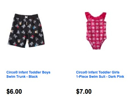 faf6411f9fa49 Today, as part of the Target daily deals, you can get a pair of toddler  swim trunks for $6. Or get a girl swimsuit for $7. Both of these ship free  too.