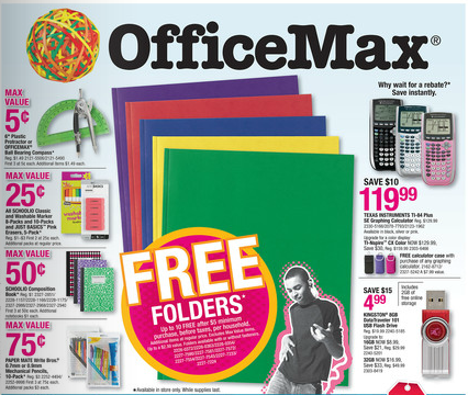 OfficeMax Back to School Deals for 08/12-08/18