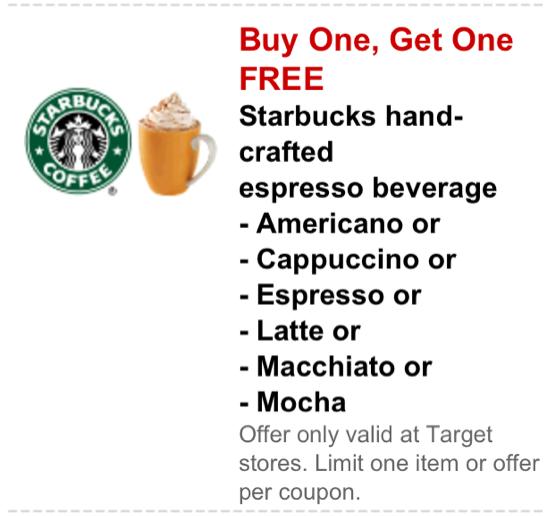 bogostarbuckstarget Target: Buy One Get One Free Starbucks Hand Crafted Drinks