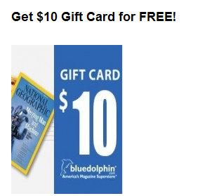 mercury FREE $10 Blue Dolphin Magazine Gift Cards