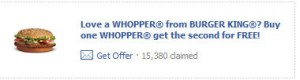 whopper 300x80 Burger King: Buy One Get One Free Whopper Coupon