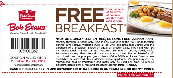bob evans1 Bob Evans Buy One Get One Free Breakfast Coupon