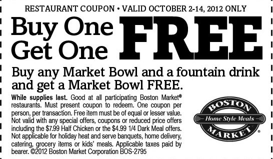 boston m Boston Market: FREE Market Bowl Coupon with Purchase