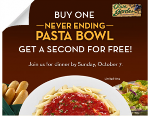 olive garden Olive Garden: BOGO FREE Neverending Pasta Bowl Coupon (select markets)