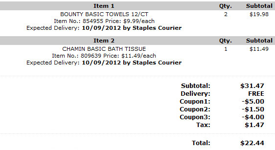 staples checkout2 Staples: Bounty Paper Towel and Charmin Basic Bath Tissue Deals Shipped FREE!