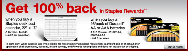 staples rewards FREE Batteries and Desk Pad Calendar After Staples Rewards