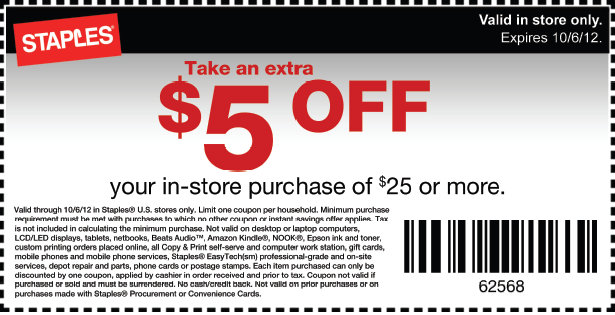 staples Staples: $5 Off $25 Purchase Coupon = Dollar Days Stock Up Deals