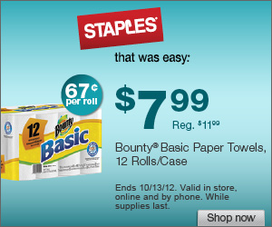 staples1 Staples: Bounty Paper Towel and Charmin Basic Bath Tissue Deals Shipped FREE!