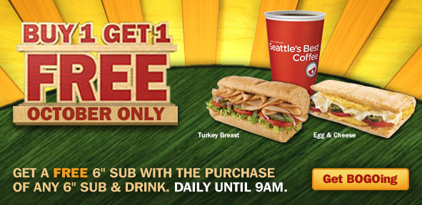 Subway Buy One Get One Free Before 9am Promotion