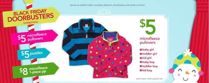 carters Carters and Osh Gosh 50% Off Sale (Today Only) $5 Fleece and Tees, $10 Jeans + more