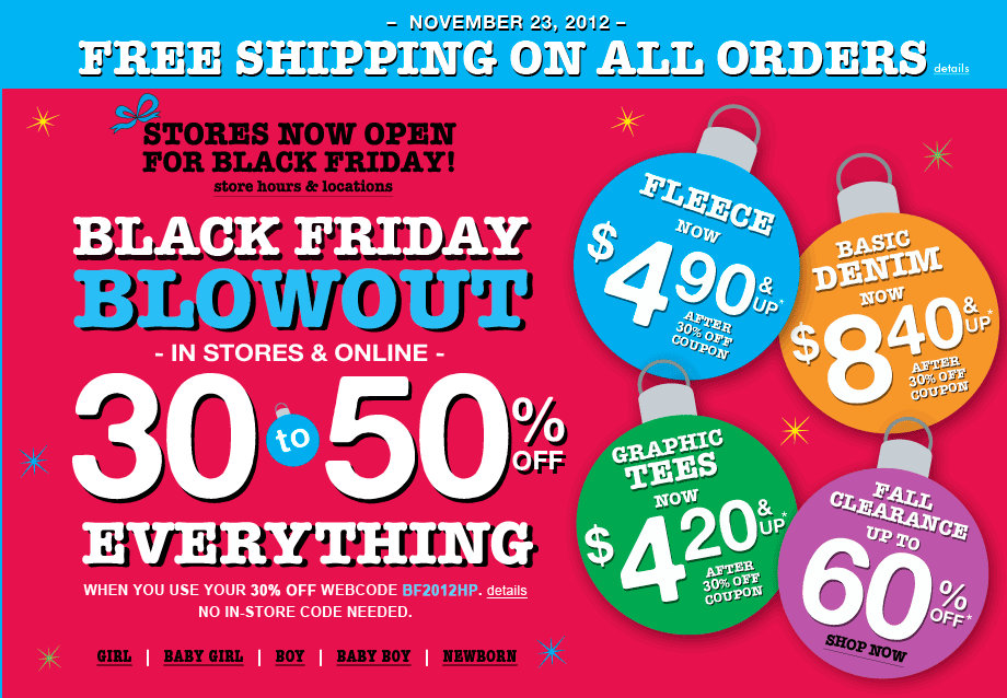 Up to 60% off Black Friday Deals @ Children's Place