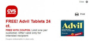 free advil 300x138 *Expired* New CVS Coupon = FREE Advil Tablets (Limited Prints)