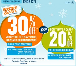 on21 300x259 Old Navy 20% Off Entire Purchase Coupon (30% For Cardholders)
