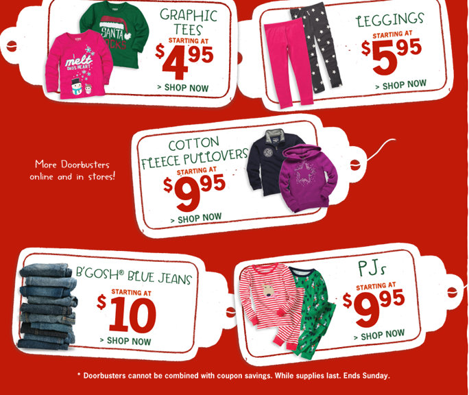 osh gosh Carters and Osh Gosh 50% Off Sale (Today Only) $5 Fleece and Tees, $10 Jeans + more