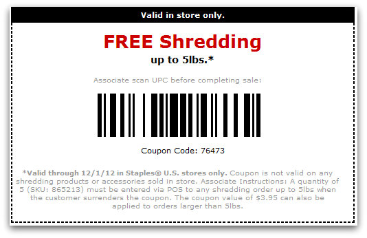photo about Staples Printable Coupon named Staples: Totally free Shredding up toward 5 weight Printable Coupon