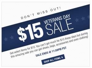 veterans 6pm 6pm.com $15 Veterans Day Sale Plus FREE Shipping (Today Only)