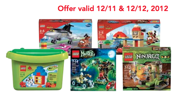 Screen Shot 2012 12 11 at 11.22.02 AM Toys R Us: 50% off Select Lego Toys (12/11 and 12/12 ONLY)