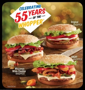 bk Burger King Buy One Get One for 55¢ Whoppers Starting 12/7