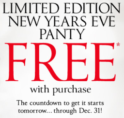free vs panty Victorias Secret: FREE New Years Eve Panty with Any Purchase (through 12/31)