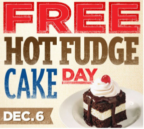 hot fudge FREE Signature Shoney's Hot Fudge Cake 12/6 Only