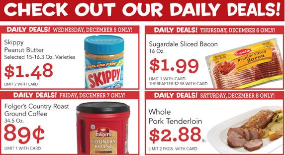 rainbow foods copps pick n save daily deals folgers coffee 89 skippy 1 48 bacon 1 99 pork tenderloin 2 88 Rainbow Foods, Copps, Pick N Save Daily Deals : Folgers Coffee .89, Skippy $1.48, Bacon $1.99, Pork Tenderloin $2.88