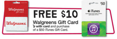 iTunes Gift Card Deals at Target and Walgreens
