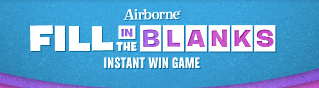Airborne Sweepstakes Roundup:  Airborne Fill In the Blanks + My Coke Rewards Dominos Instant Win Games