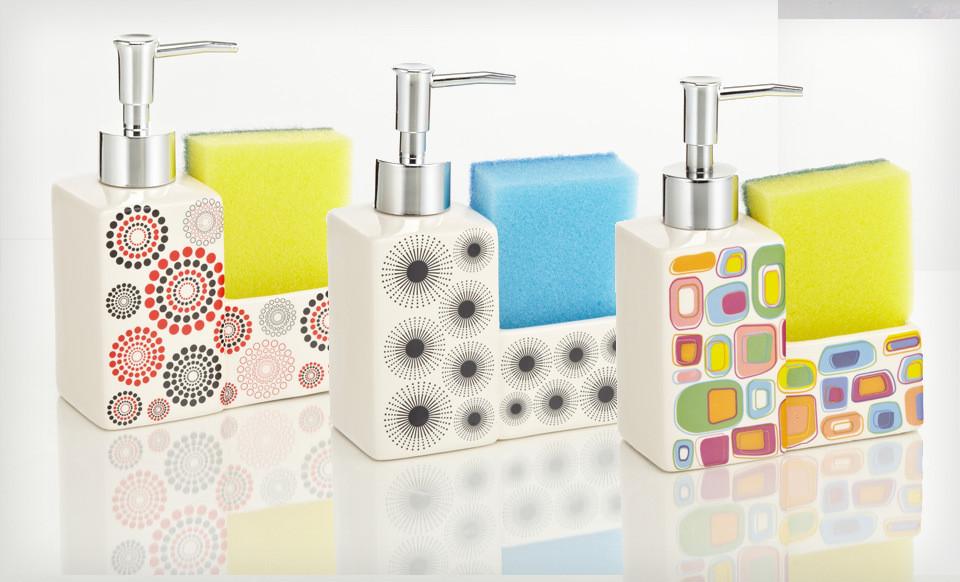 Ceramic Soap Dispenser or Dishwashing Set for $8