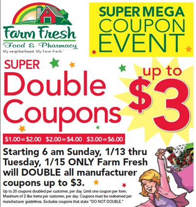 farm fresh super mega doubles coupon matchups 113 115 starter list Farm Fresh Super Mega Doubles Coupon Matchups 1/13 1/15 *Starter List*