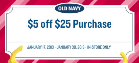 Old Navy: $5 off a $25 Purchase Coupon