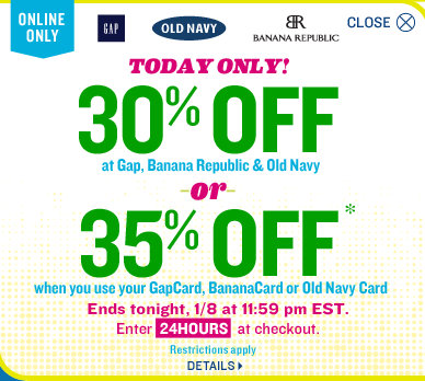 old navy Old Navy, Gap or Banana Republic | 30% Off Entire Purchase Promo Code (35% For Cardholders)