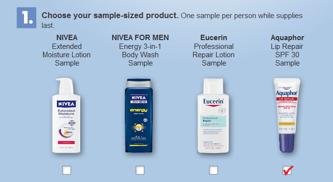 sample FREE Sample of Aquaphor, Eucerin, or Nivea Products