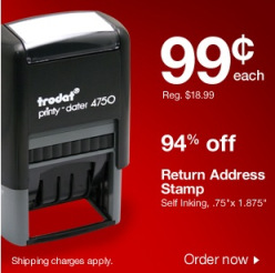 stamp *HOT* Staples Return Address Stamp 99¢ Shipped ($18 Savings)