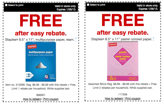 Again At Staples Grab FREE Brand Copy Multipurpose Paper Ream And Pastel Colored As Well After Easy Rebate Use This Coupon Which Will