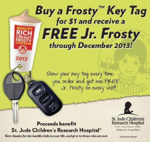 wendy 300x284 Possibly FREE Junior Frosty Key Tag With Charity Donation