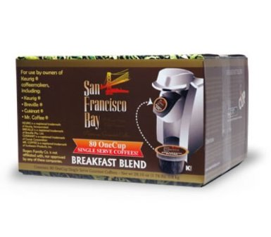 41au8p1mrDL. SX385  San Francisco Bay Coffee OneCup for Keurig K Cup Brewers, Breakfast Blend, 80 Count for $27.50 Shipped