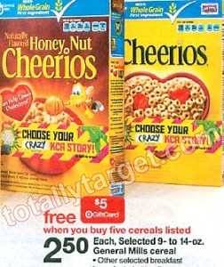 Cheerios at Target 252x300 General Mills Cereal Target Gift Card Deal | Makes Cheerios Just $1