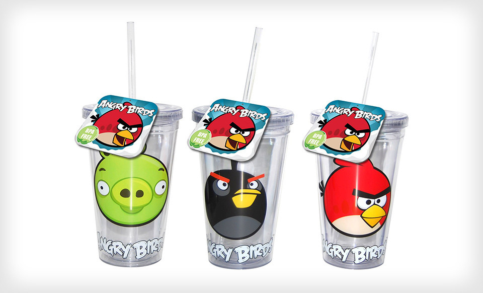 RackMultipart20130131 10041 1xib1g wide Two Angry Birds Water Bottles or Tumblers for $12