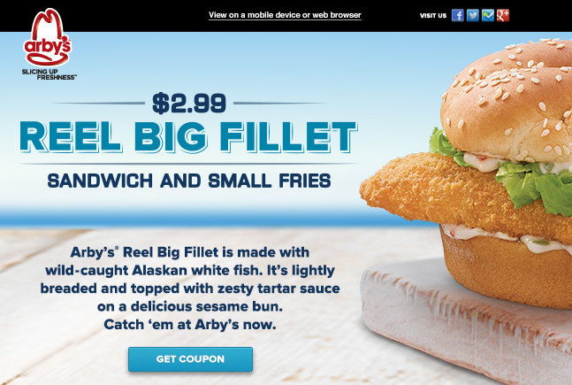 arby Arbys: Reel Big Fillet Sandwich and Small Fries Coupon
