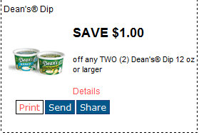 deans New Deans Dip Printable Coupon + Walmart Deal