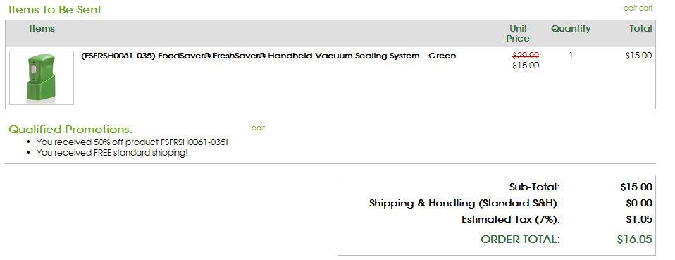 foodsaver Freshsaver Handheld Vacuum $15 Shipped