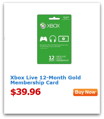 value of the day XBOX Live 12 Month Gold Membership for $39.96