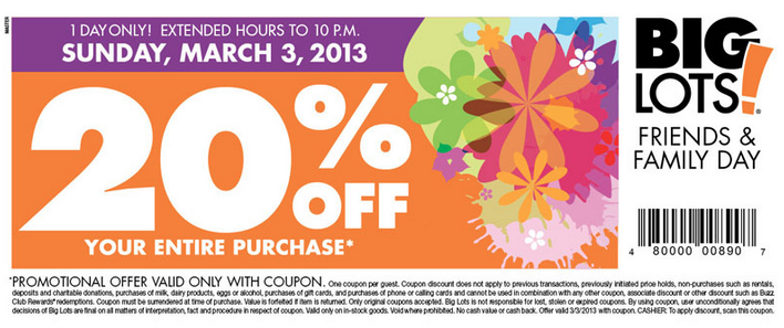 Screen Shot 2013 03 03 at 9.03.03 AM Big Lots Friends and Family Day | 20% off Entire Purchase (3/3 Only)