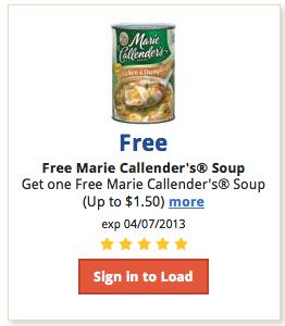 free marie callenders soup